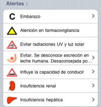 Alertas de principios activos en Vademecum iPhone