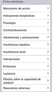 Menú de la monografía de principios activos en Vademecum iPhone