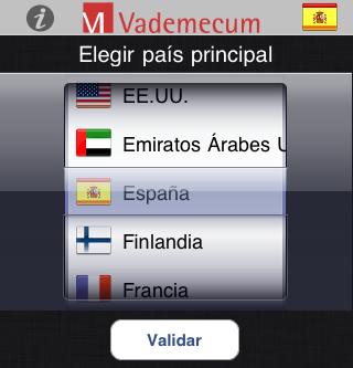 Seleccionar un país en Vademecum iPhone